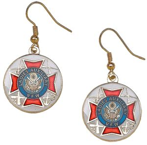 Ladies Auxiliary earrings, gold & white. $8.95