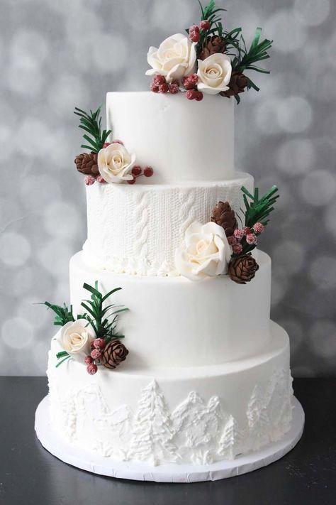 Camo Wedding Cakes, White Wedding Cakes, Wedding Cake Designs, Wedding Desserts, Christmas Wedding Themes, Winter Wedding Decorations, Winter Weddings, Propositions Mariage, Elegant Cake Design