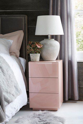Add A Modern And Chic Touch To Your Bedroom With This Blush Sloane Bedside Table This De Pink Bedside Tables 3 Drawer Bedside Table Mirrored Bedroom Furniture