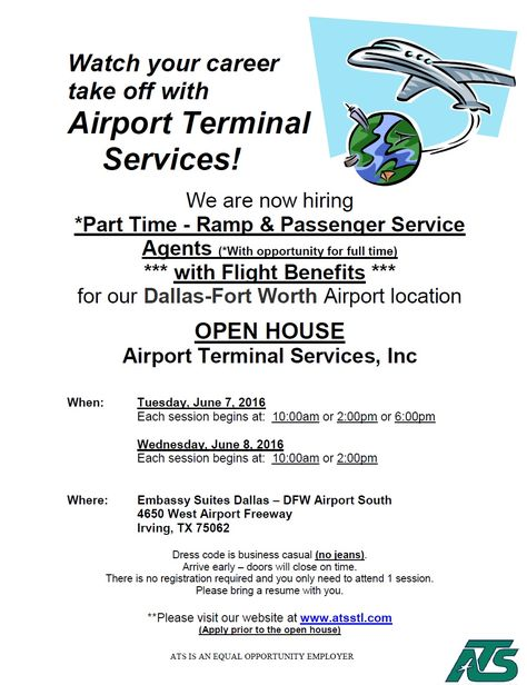 ATS is hosting an Open House Tuesday, June 7th and Wednesday, June - ramp service agent sample resume