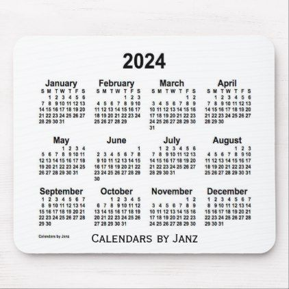 2024 White Calendar By Janz Mouse Pad Zazzle Com Custom Calendar Custom Holiday Card Custom Mouse Pads