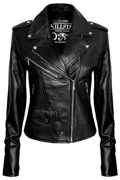 Wocachi Leather Jackets for Womens,Zipper Button Down Solid Color Crop Leather Coats Fashion Punk Lepel Motor Jacket