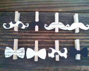 Bow Tie Mustache Clothespin Baby Shower Decoration Dont Say Baby Game Clips Pin Birthday Party Wedding Decoration Drink Marker Photo Display