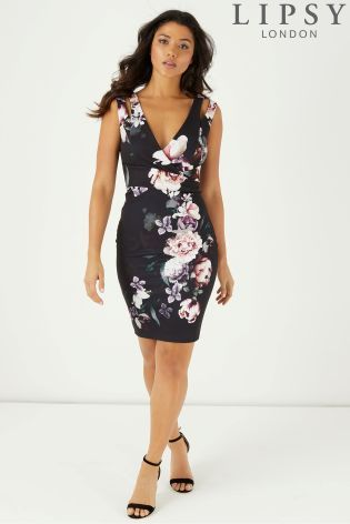 Buy Lipsy Amber Print Bodycon Dress From The Next Uk Online Shop Lace Bodycon Dress Bodycon Dress Bodycon Floral Dress