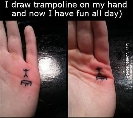 Funny pictures about Trampoline hand tattoo. Oh, and cool pics about Trampoline hand tattoo. Also, Trampoline hand tattoo.