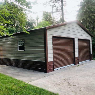 24x20x8 Steel Garage In Valparaiso In Metal Building Homes Steel Garage Metal Buildings