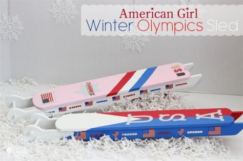 Winter Olympics crafts ~ Make an adorable American Girl Doll craft of a sled for the dolls own winter Olympics! #AmericanGirlDoll #WinterOly...