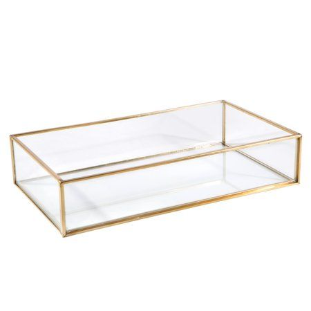 Home Details Vintage Copper Large Rectangle Glass Tray 9 4x5 5x1 9 Walmart Com Vanity Tray Bedroom Decorating Tips Tray Decor
