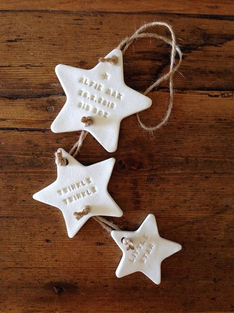 Personalised new baby or christening gift / clay star / Twinkle Twinkle / nursery decoration / nursery decor - Twinke Twinkle: three star clay decoration with by TwoAndBoo - Clay Christmas Decorations, Christmas Crafts, Christmas Ornaments, Christmas Christmas, Xmas, Polymer Clay Crafts, Diy Clay, Natal Diy, Crafts For Kids