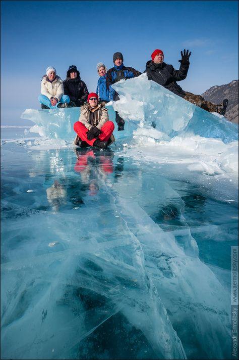 Frozen lake Baikal in March, Siberia, Russia.
