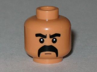 Lego New Yellow Minifigure Head Black Hair Eyebrows Eyes and Moustache Piece