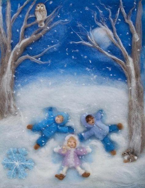 Photo of Jahreszeiten der Freude, Wolle Malerei Fotodruck von Bilderbuch Illustrationen, Set von 4, 5 von 7