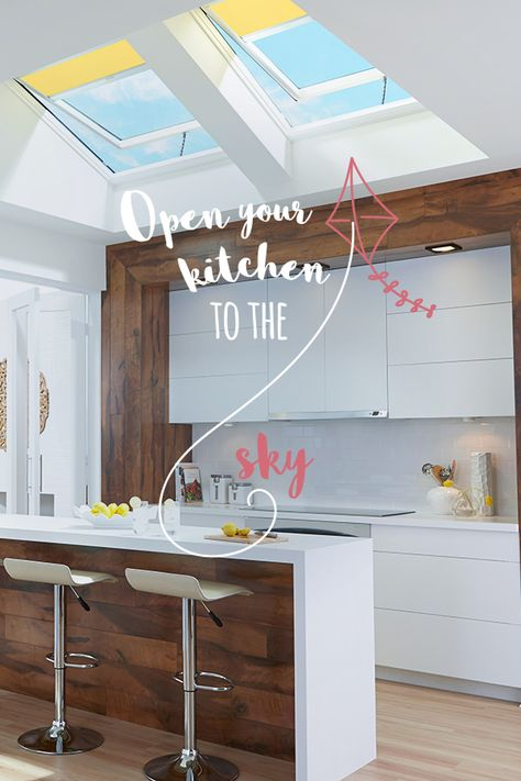 Skylights make a kitchen bright and open, and let your space breathe. Check out this fifth wall design tip.