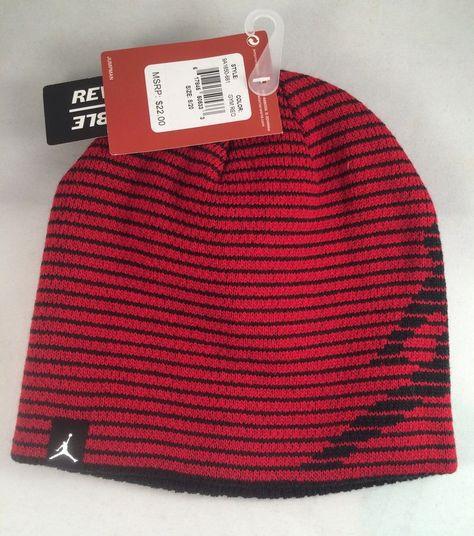 1aa1960762e2 Nike Air Jordan Beanie Cap Hat Red Black Size 8 20 Boys Reversible Gift   Nike  Beanie