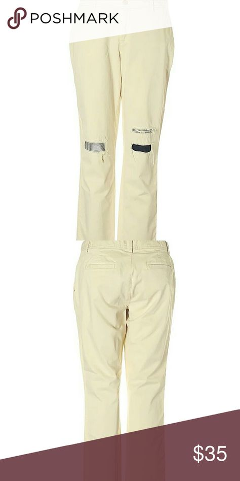 0e9415b5307ed Gap Cream Girlfriend Chino Ripped Patches Pants Straight leg cut Mid rise  waist Solid Beige or Cream or Off White Striped print & denim patches  Factory ...