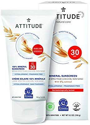 Amazon Com Attitude Sensitive Skin Hypoallergenic Mineral Sunscreen Spf 30 Fragrance Free Fragrance Free Products Mineral Sunscreen Sensitive Skin Natural