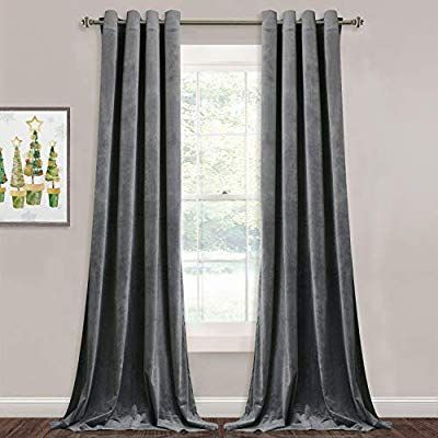 Grey Velvet Curtains For Living Room 96 Inch Long Heavy Duty Velvet Drapes Light Blocking Privacy D Grey Velvet Curtains Velvet Curtains Living Room Curtains