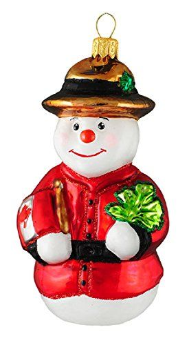 Royal Mountie Canadian Snowman Polish Glass Christmas Ornament Canada Decoration Christmas Ornaments Glass Christmas Ornaments Christmas