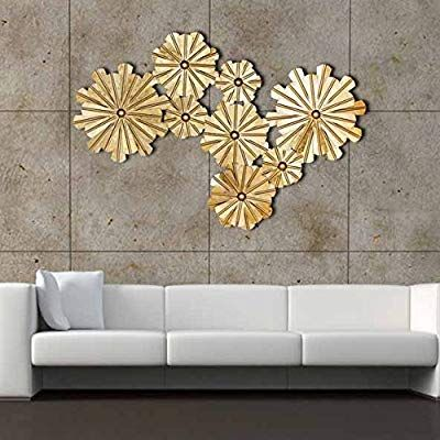 Amazon Com Decorlives 8 Golden Flowers Extra Large Metal Wall