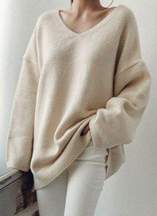 V Neckline Solid Casual Loose Regular Shift Sweaters