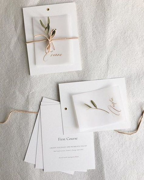 Simple and sweet menu booklets tied with leather string + gold-inked vellum place cards. One of my favourite parts of my job is all the exploring, dreaming and playing before my pen even hits the paper. And then to see it come alive and feel it in my hands is quite the magical moment ✨ Can't wait to show more sneak peeks from this lovely elopement with @eventoftheseason!