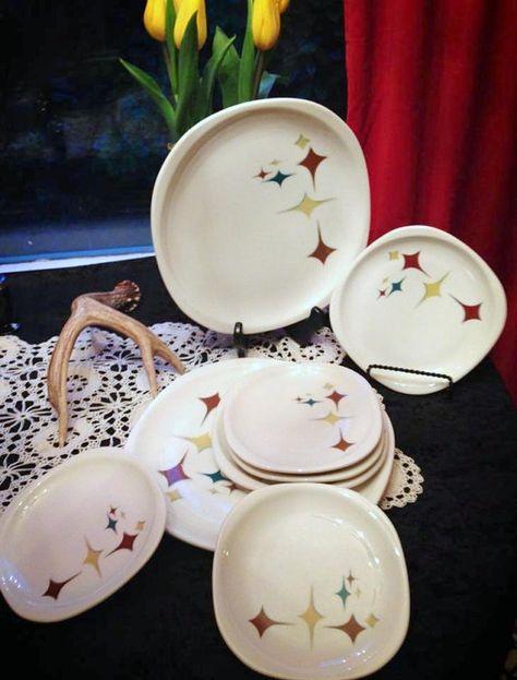 Lot of 8 VINTAGE 1950s Atomic Dinnerware -- Syracuse Jubilee  -- Mid Century -- Retro Home on Etsy, $55.00