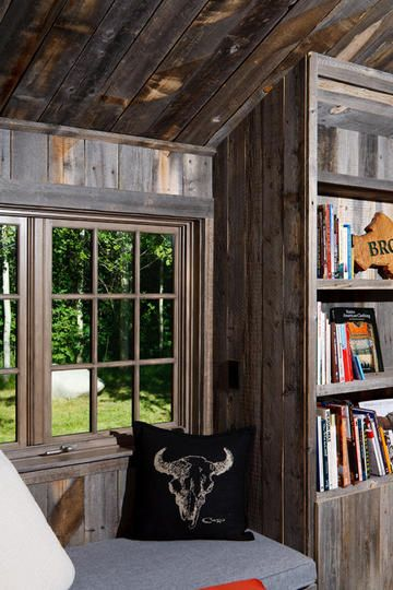 tiny nook in a tiny guest house log cabin