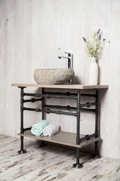 Badschranke Unterschrank Waschbecken Stahlrohr Gestell Wtu Ein Designerstuck Von Besserwohner B Unterschrank Aufsatzwaschtisch Unterschrank Waschbecken