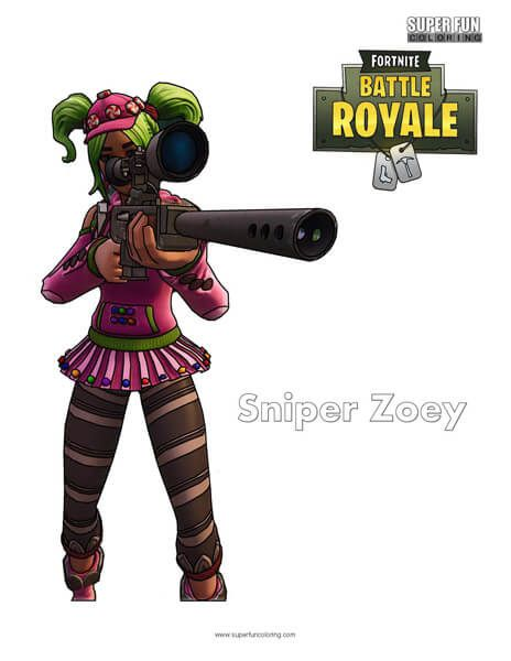Fortnite Zoey Sniper Coloring Page Cool Coloring Pages Fun Colors Coloring Pages
