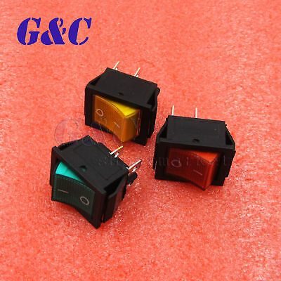 5Pcs KCD4-201 Red Lamp 4 Pin ON//OFF 2 Position DPST Rocker Switch 16A//250V