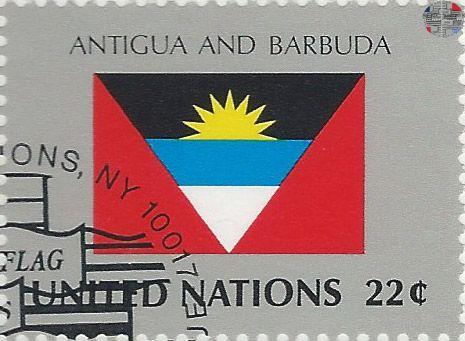 National Flag On Un Stamp Antigua Barbuda Filatelia