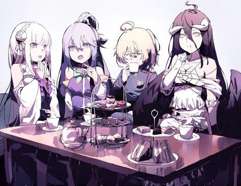 HD wallpaper: Anime, Isekai Quartet, Albedo (Overlord), Aqua (KonoSuba), Emilia (Re:ZERO)