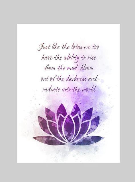 Lotus Flower Quote ART PRINT Inspirational, Motivational, Zen, Yoga, Gift, Wall Art, Home Decor