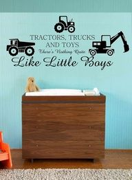 Would be cute in Gunners John Deere room in the new house! Tractors Trucks and Toys Nothing Quite Like by greatwallsoffire, $38.95