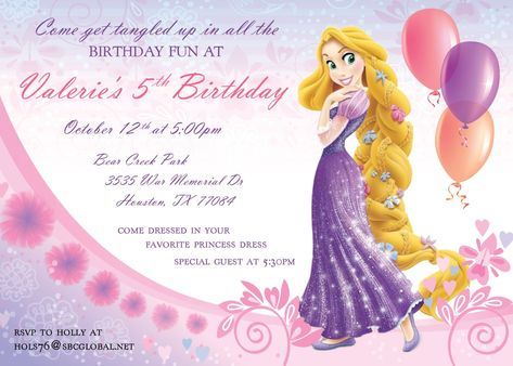 Rapunzel Invitation Template A Girly Birthday Party Card Design