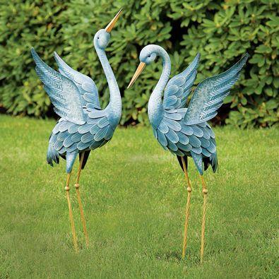 Blue Herons Animal Garden Sculptures