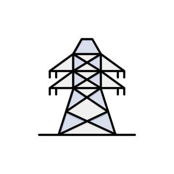 Electrical Energy Transmission Transmission Tower Flat Color Tower Clipart Icons Converter Icons Fitness Png And Vector With Transparent Background For Free Transmission Tower Electricity Electrical Energy