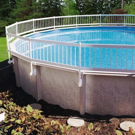 Gli Above Ground Pool Fence Kit White Walmart Com Above Ground Pool Fence Backyard Pool Landscaping Pool Landscaping