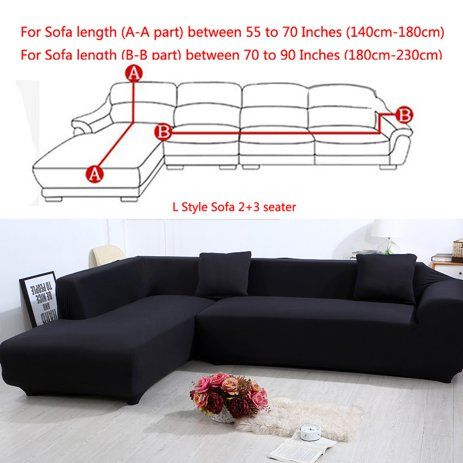 All Cover Sectional Sofa L Shape 2pcs Slipcover Elastic Washable Couch Cover 2seater 55 To 74inch In 2020 Couch Covers Slipcovers Sectional Couch Cover Couch Covers