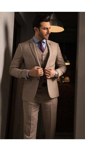 3 Piece Suit Light Brown Hipster Mens Fashion Wedding Suits Men
