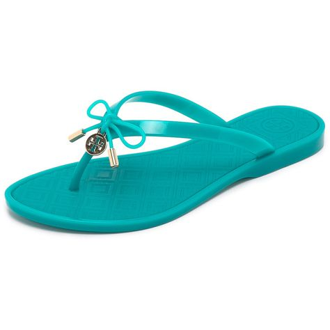 28890a14cc1e Tory Burch Jelly Bow Thong Sandals (€85) ❤ liked on Polyvore featuring shoes