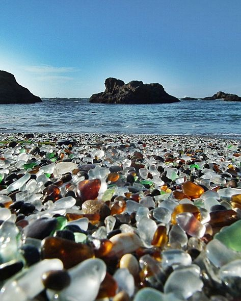 Situated just outside Fort Bragg; glass beach in one of the most unusual beaches of the world. The shore of this beach consists of millions of round shaped glass bits that were earlier thrown into the beach as pieces of garbage.