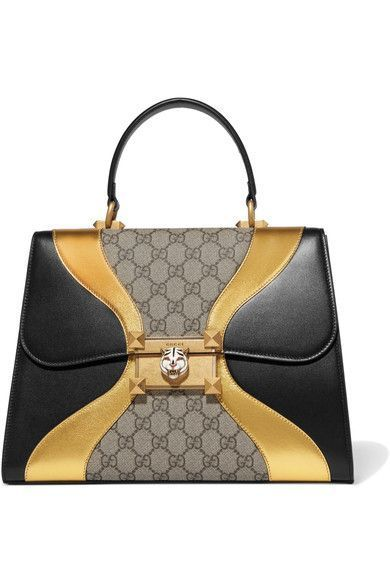 Gucci Iside Embellished Leather And Coated Canvas Tote Gucci Bags Shoulder Bags Hand Bags Canvas Leather Metallic Tote Bags Leather Handbags Tote Bags