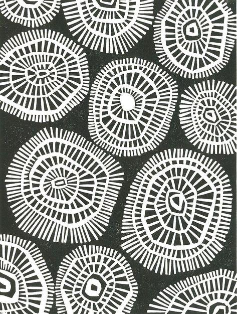 Geometric Linocut Print MOD CIRCLES Black & White Mid   Etsy