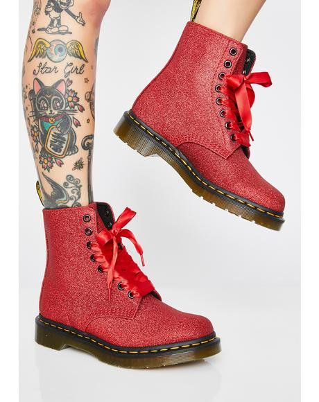 b8ae2e6ddbac 1460 Pascal Heart Boots in 2019 | Shoes | Glitter boots, Boots ...