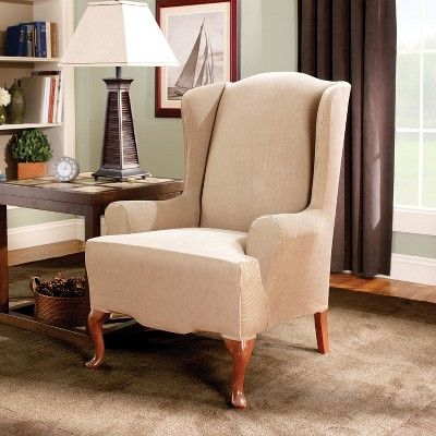 Stretch Stripe Wing Chair Slipcover Sand Brown Sure Fit
