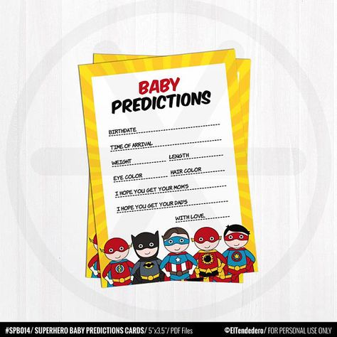 BABY SHOWER PREDICTIONS SUPERHERO