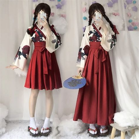 Girls Japanese Style Retro Kimono Floral Long Sleeve Woman Party Dress Summer Fashion Outfits Top Bow Skirt Haori for Female - One Red Long Skirt S