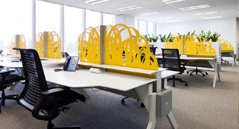 Desk separators low colorful maintain an open space hum