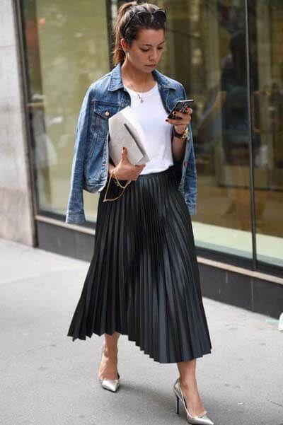 Jupe Longue Comment Bien La Choisir Et Comment La Porter Avec Style Jupe Longue Jupe Longue Plissee Veste En Jean Courte